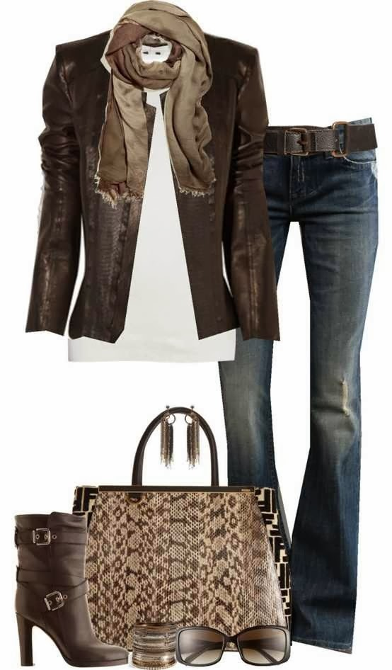 Adorable dark chocolaty jacket, scarf, white blouse, jeans, handbag and matching high heel boots for fall