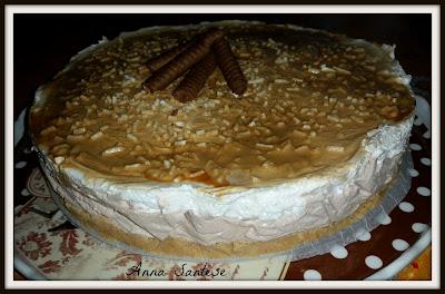 cheesecake bicolor con latte condensato, cream caramel e senza colla di pesce