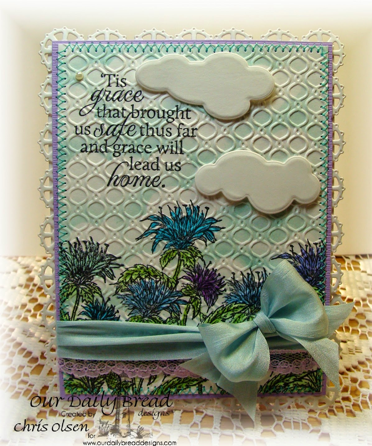 Our Daily Bread Designs, How Sweet the Sound, Bee Balm, Raindrops and Cloud Dies, Layered Lacey Squares, designed by Chris Olsen