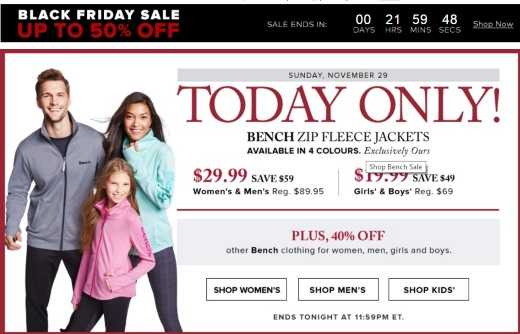 Hudson's Bay Black Friday Bench Zip Fleece Jackets $29.99 Adults, $19.99 Kids + 40% Off Other Bench Clothing