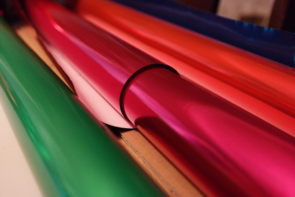 Rolls of shiny wrapping paper