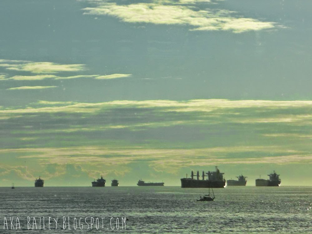 Tankers and ships in English Bay, Vancouver