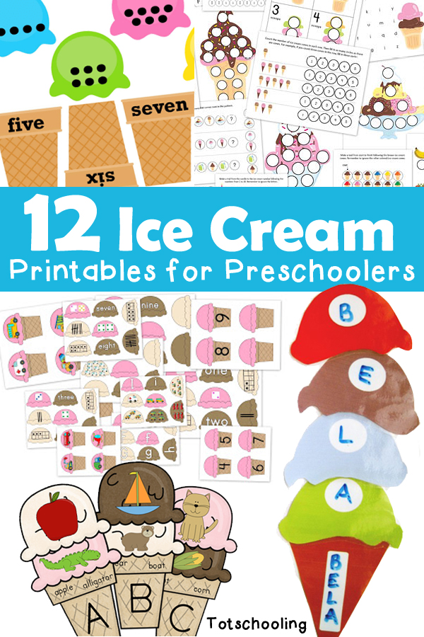 12 Ice Cream Printables for Preschoolers : Totschooling ...