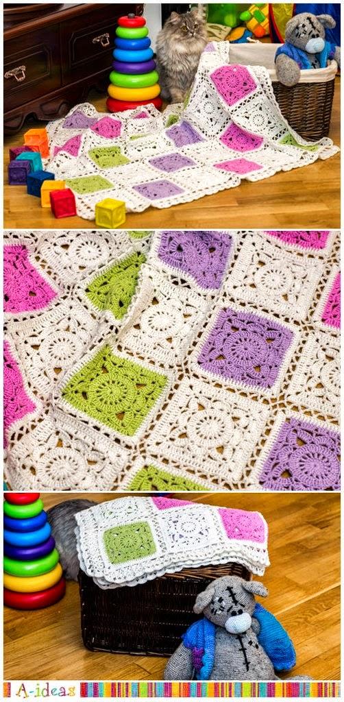 Colcha en tonos modernos con grannys al crochet