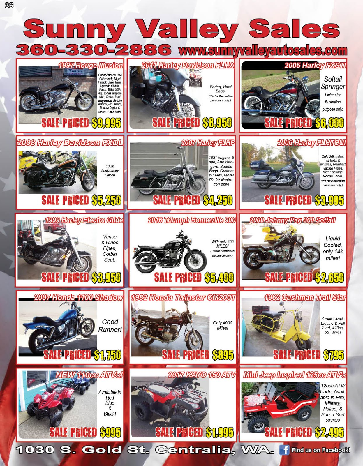 """Sunny Valley Sales"" Used Motorcycles, New ATVs, Classics, More!!"