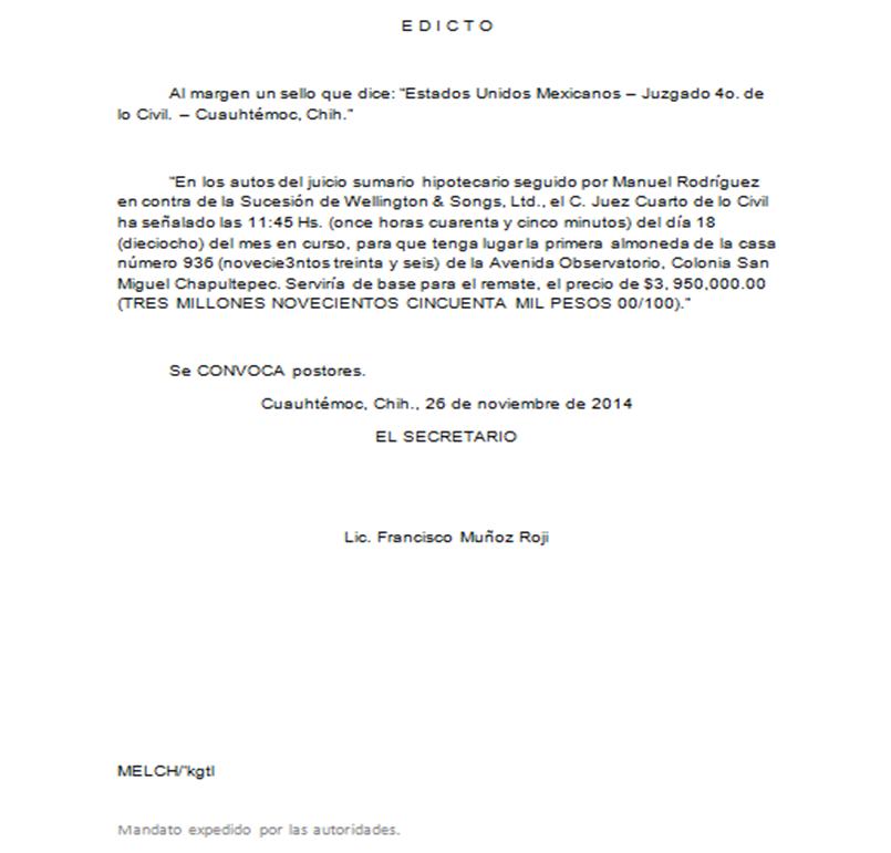 Elaborar documentos de oficina edicto for Ejemplos de oficinas