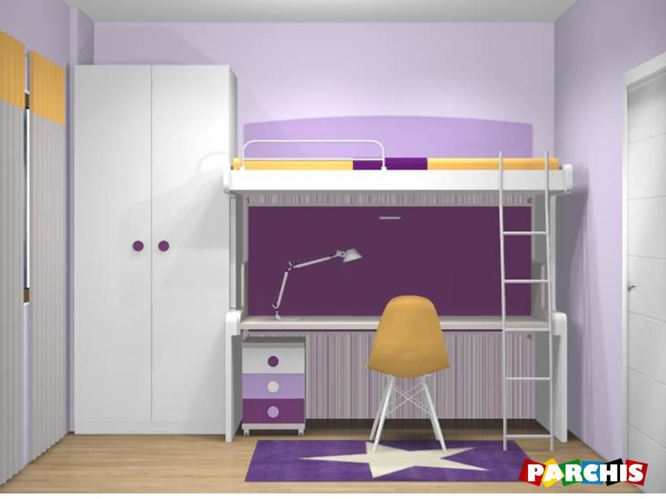 Muebles juveniles dormitorios infantiles y habitaciones - Camas con escritorio debajo ...