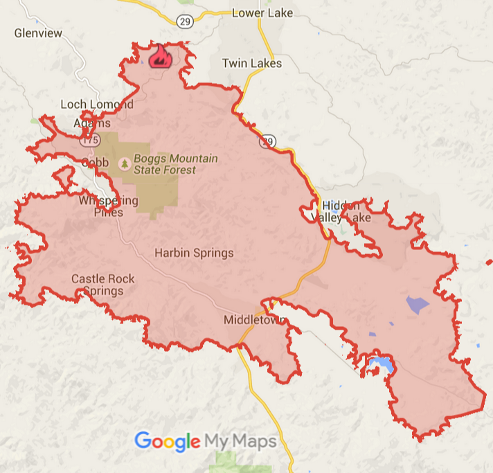 USA, California: Map of Wildfire at The Geysers Geothermal Field