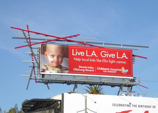 Live Give LA Childrens Hospital cancer billboard