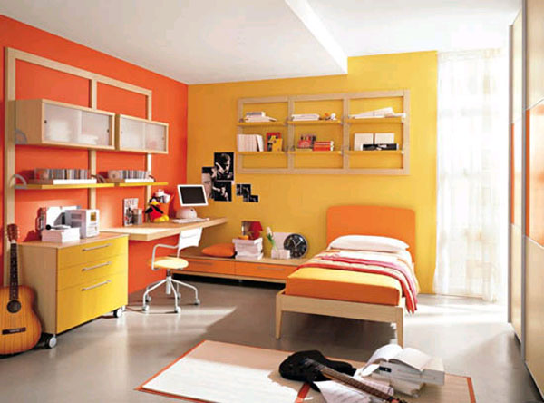 Lesoon 6 color textures master bedroom paint for Bright yellow bedroom ideas
