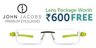 "Get Premium Quality John Jacob Eyeglasses & Get Free ""KLAR"" Lenses worth Rs.600"