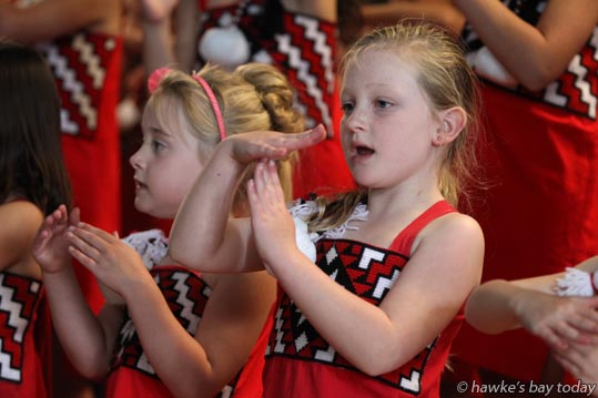 Taylor-Rose Edgarton-MacKay, junior kapa haka performance for parents at Bledisloe School Taradale, Napier. photograph
