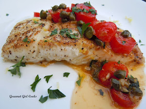 Pan Seared Wild Pacific Halibut w/ Lemon Wine Caper Sauce