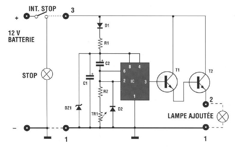 schema retardateur pour lumieres de freins   realisation montage electronique