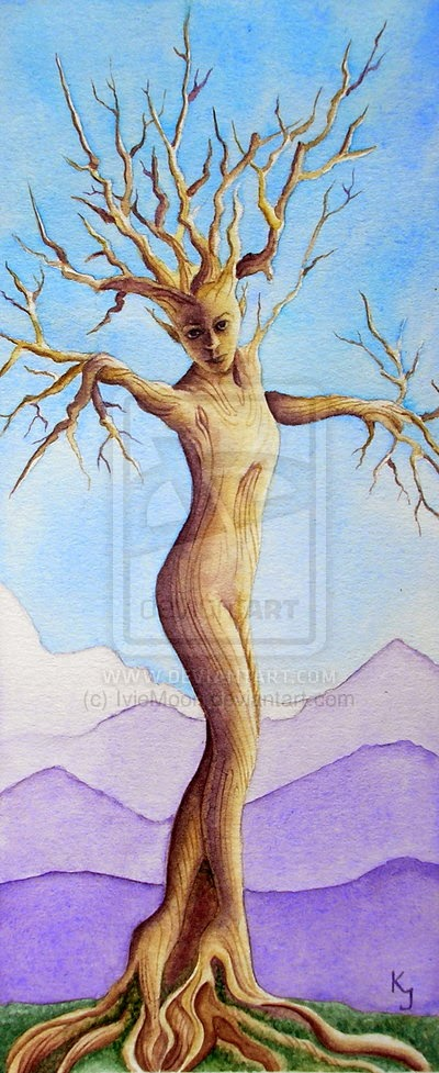 watercolor painting tree dryad