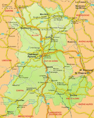 Auvernia Mapa de Ciudades