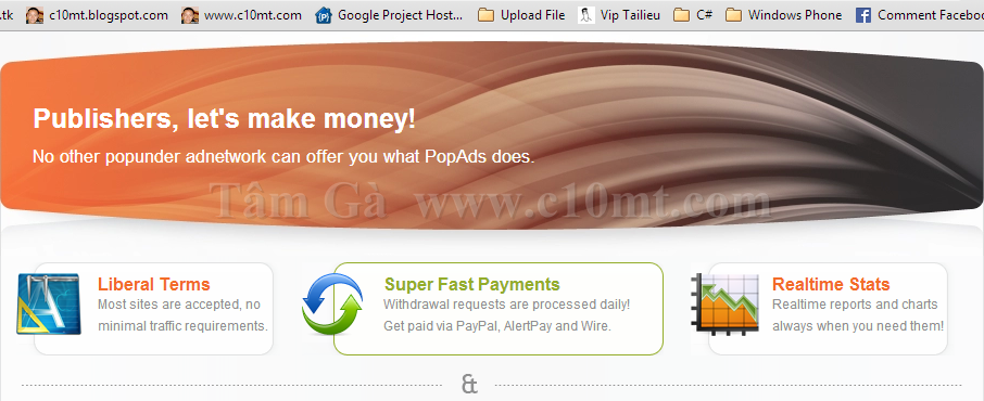 Popads Kiếm tiền từ popup under với blog/website