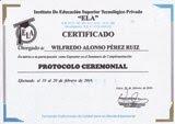 "Expositor del seminario ""Protocolo Ceremonial"" - Instituto ELA - Lima, 2016."