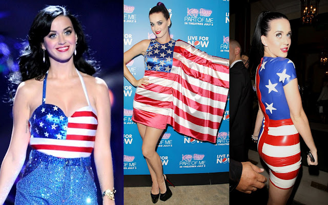 Katy Perry American Flag outfit stars and strips USA Fourth of July picture photo