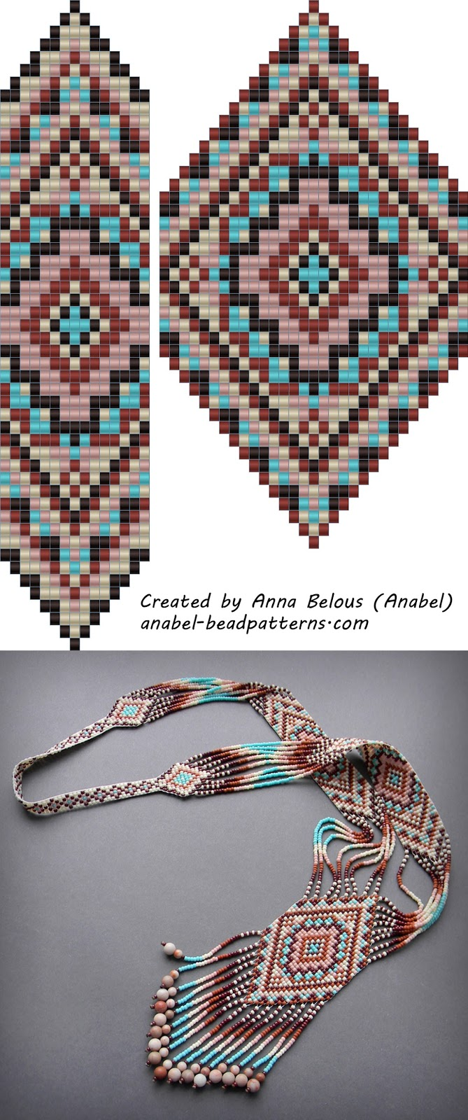 free bead patterns split loom necklace beadwork beadweaving