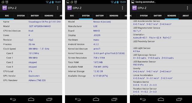 تطبيق مجاني يعرض لك معلومات تفصيلة عن كل قطعة من جهازك الأندرويد cpu-z-1.15.apk
