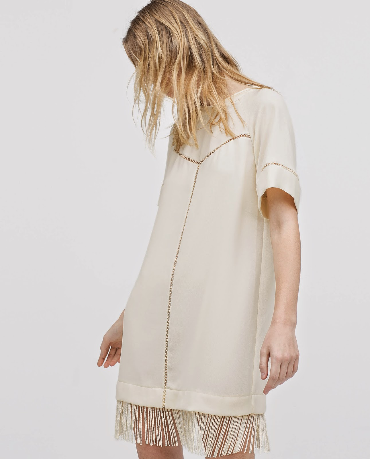 zara cream dress with fringe, dress with fringed  hem,
