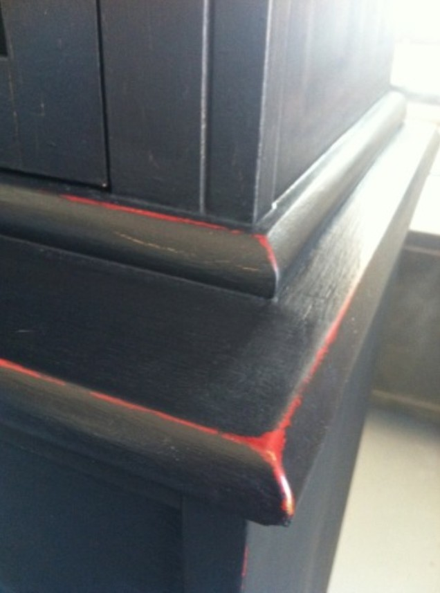 She Envisioned Antique Black With A Red Peeking Thru The Distressing! I  Used Annie Sloan Chalk Paint In Emperors Silk For The Undercoat And  Graphite (Black) ...