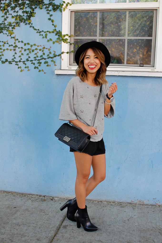 Brandy Melville Leticia Shorts, H&M jeweled top, Zara hat, beautybitten