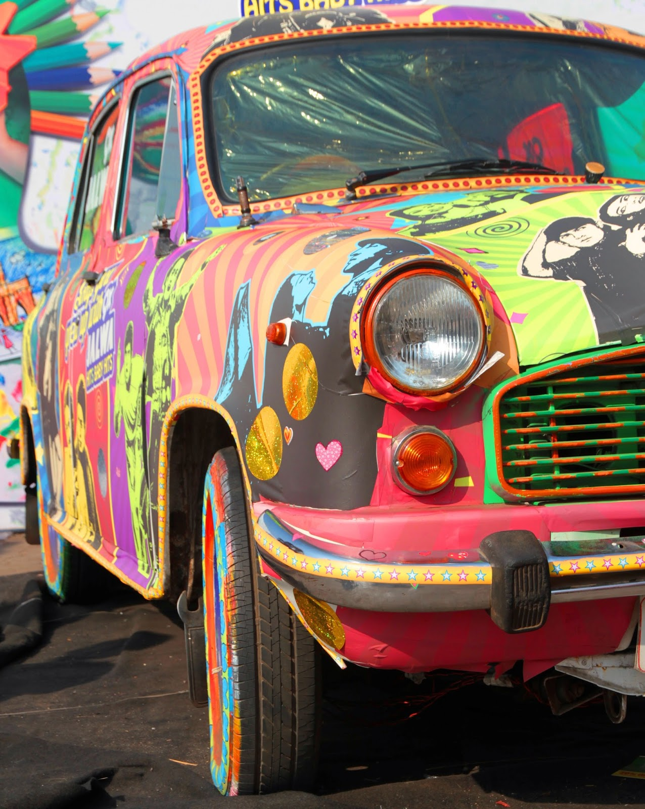 bollywood car, kala ghoda, ambasador, art car, mumbai, india