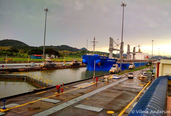 Cargo ship waiting to go through the Miraflores locks - Panama Canal