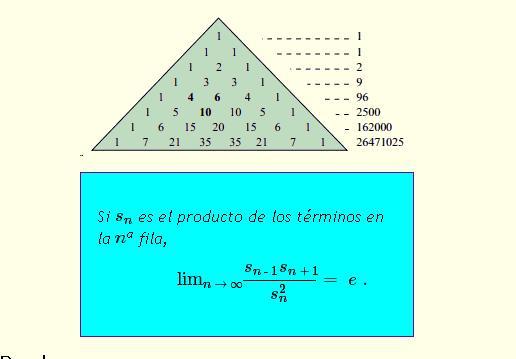 Números y algo mas...: 1141 - La constante e en el triángulo de Pascal
