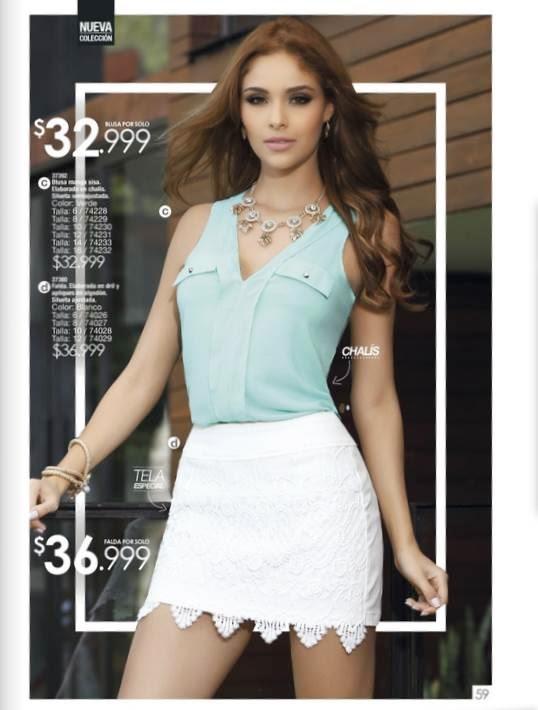 blusa juvenil y falda corta, moda 2015