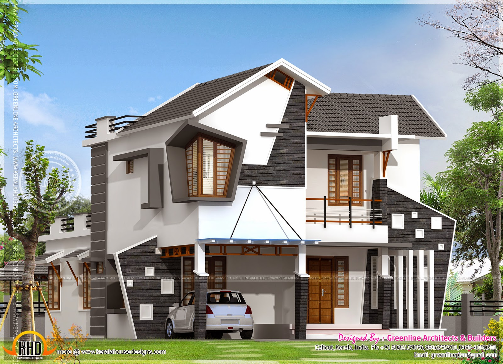 Unique house exterior in 2154 square feet kerala home for Interesting home designs