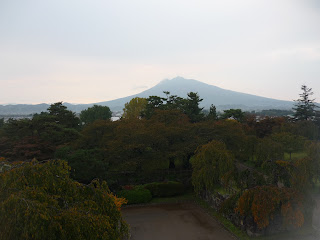 Zoomed out view of Mount Iwaki from Hirosaki Park