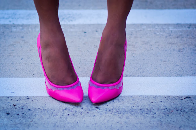 Pink shoes Royal blue dress