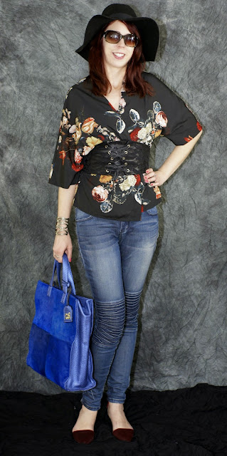 My Style: Spring Transitional Outfit - Vero Moda and Lady Dutch Moto Jeans from Hudson's Bay, H&M Hat, Local Buttons Bracelet, Nine West Shoes from Heel Boy, Jeanne Lottie Tote, fashion, styletips, outfit, OOTD, Toronto, Ontario, Canada, The Purple Scarf, Melanie.Ps