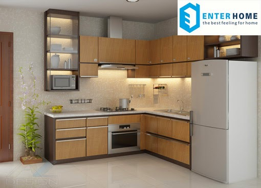Tủ bếp đơn giản enterhome