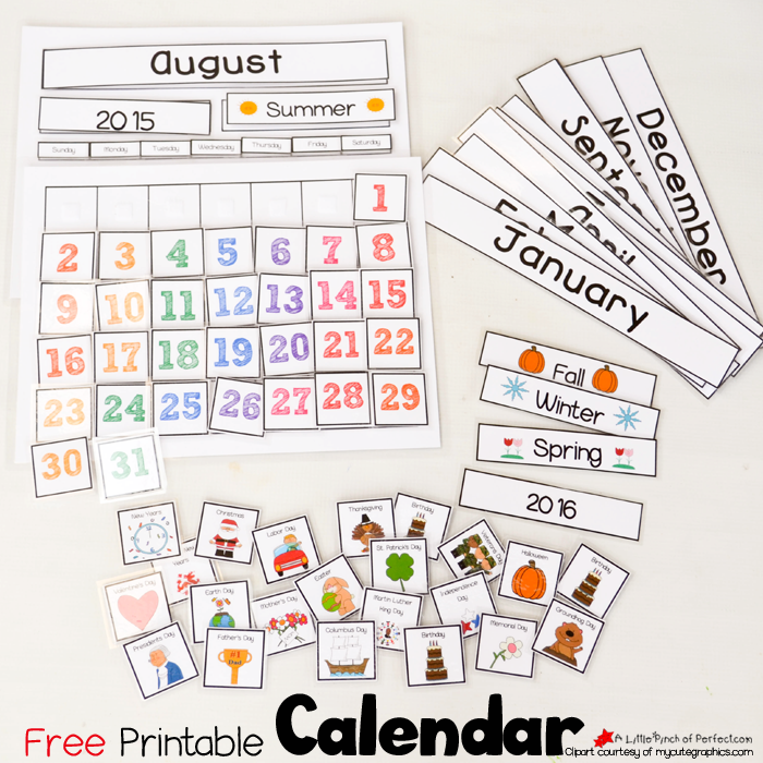 photo regarding Free Preschool Calendar Printables identified as Lovable Cost-free Printable Calendar for Circle Year with Little ones -