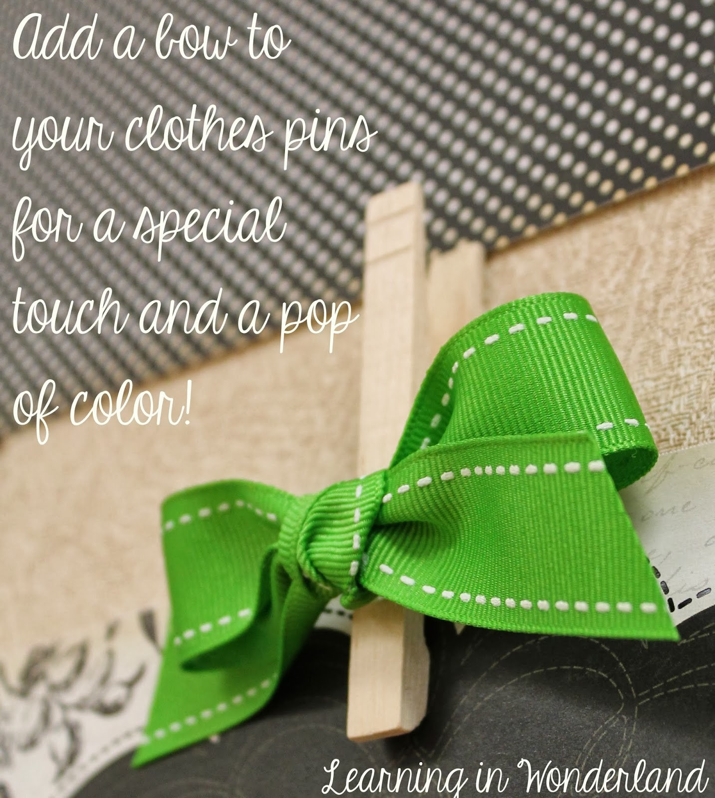 Scrapbook ideas using ribbon - Using Clothespins To Display Student Work
