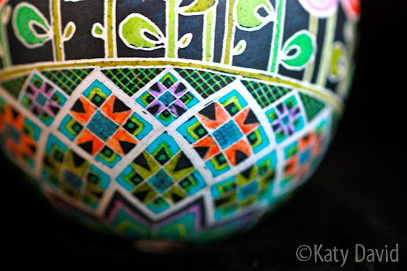 Friday Egg: Poppies Blueprint ©Katy David Modern Pysanky