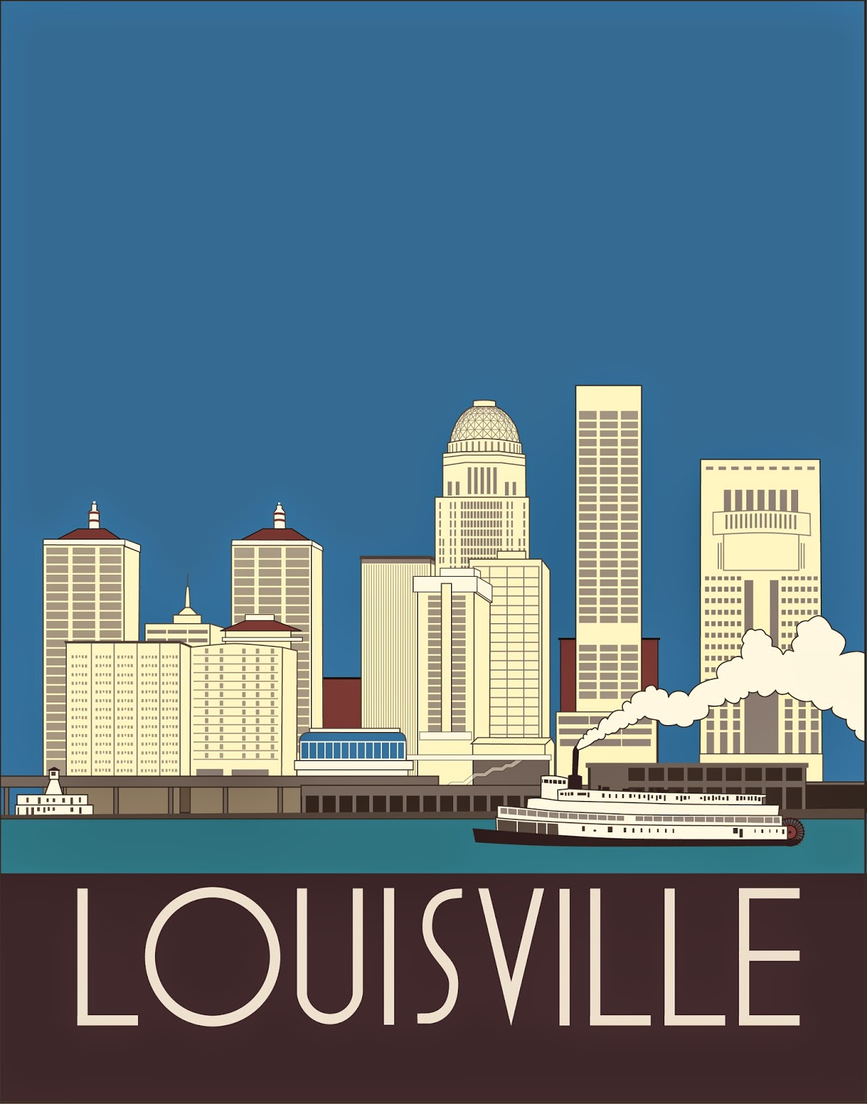 Louisville Kentucky Art Deco Skyline Josef Spalenka Adobe Illustrator