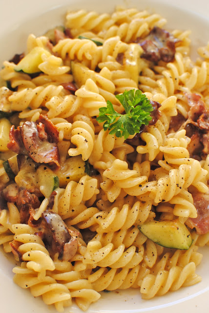 recept, pasta, carbonara, zucchini, lunch, jamie oliver, bra, god, blogg, mat, bacon
