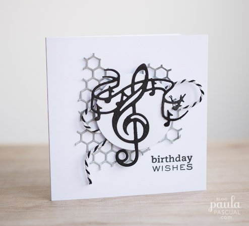 Paula pascual tonic music notes birthday card this is a quick card i made last week using a couple of tonic studios dies for the shows at create and craft usa i rarely do monochrome cards using just bookmarktalkfo Images