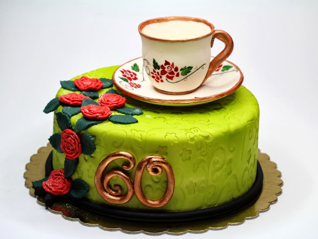 60th Birthday Cake with Porcelain Cup, London Cakes