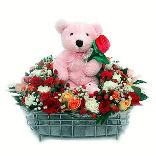 Red Flower Gift Basket