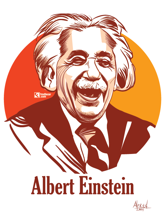 tokoh ilmuan fisika albert einstein terkenal, teori relativitas, adobe ilustrator, line art solid, brush, ilmuan, gambar