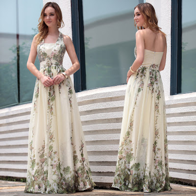 Print Halter Floor Length Dress