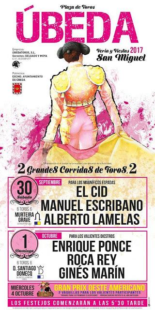 ÚBEDA (ESPAÑA)  EL 30 SEPTIEMBRE Y 01 DE OCTUBRE 2017. DOS GRANDES CORRIDAS DE TOROS.