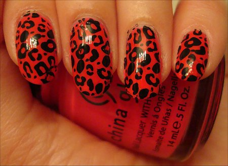 Red Leopard Nail Art