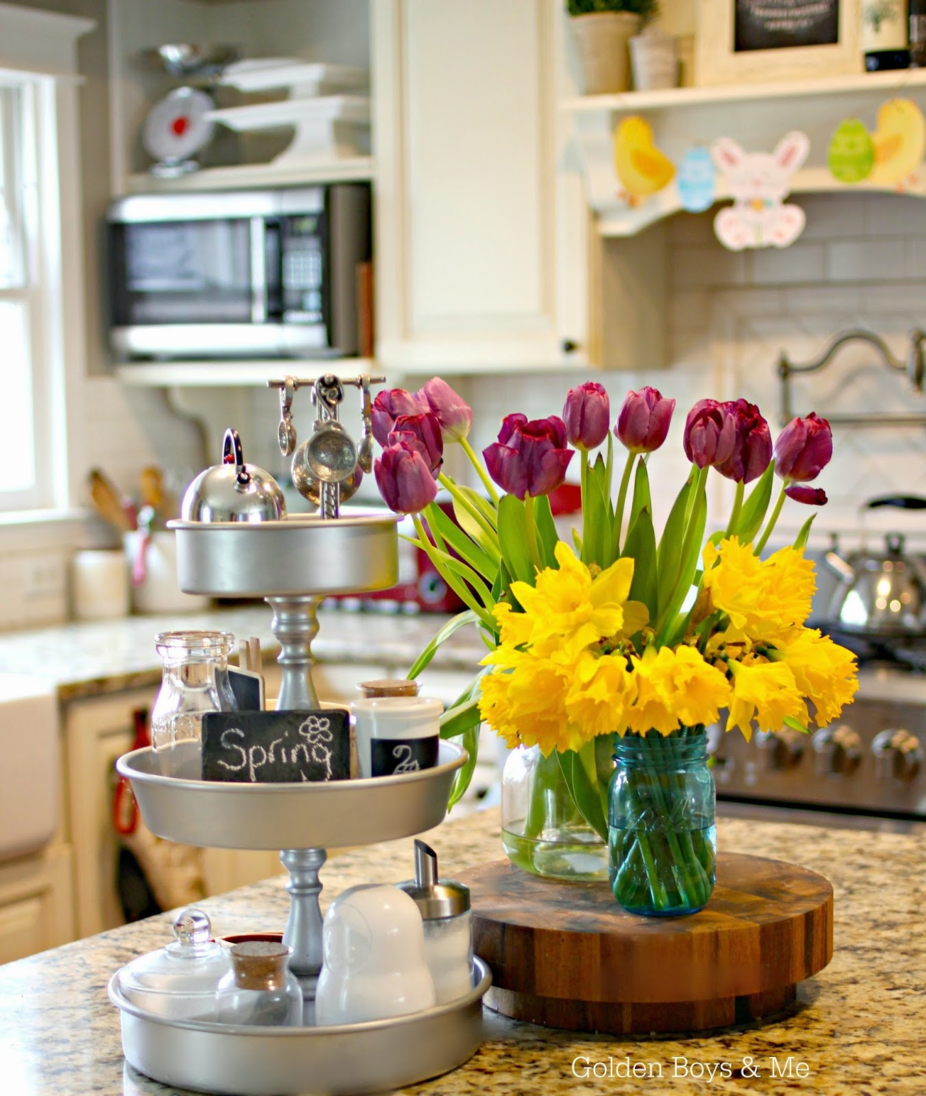 Tulips and Daffodils in kitchen with DIY 3 tiered kitchen stand - www.goldenboysandme.com
